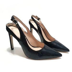 Zara Slingback Patent Leather Suede Black Heels